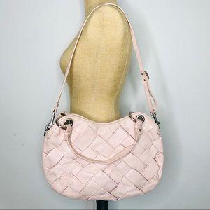 Cole Haan Blush Woven Blush Leather Shoulder Bag